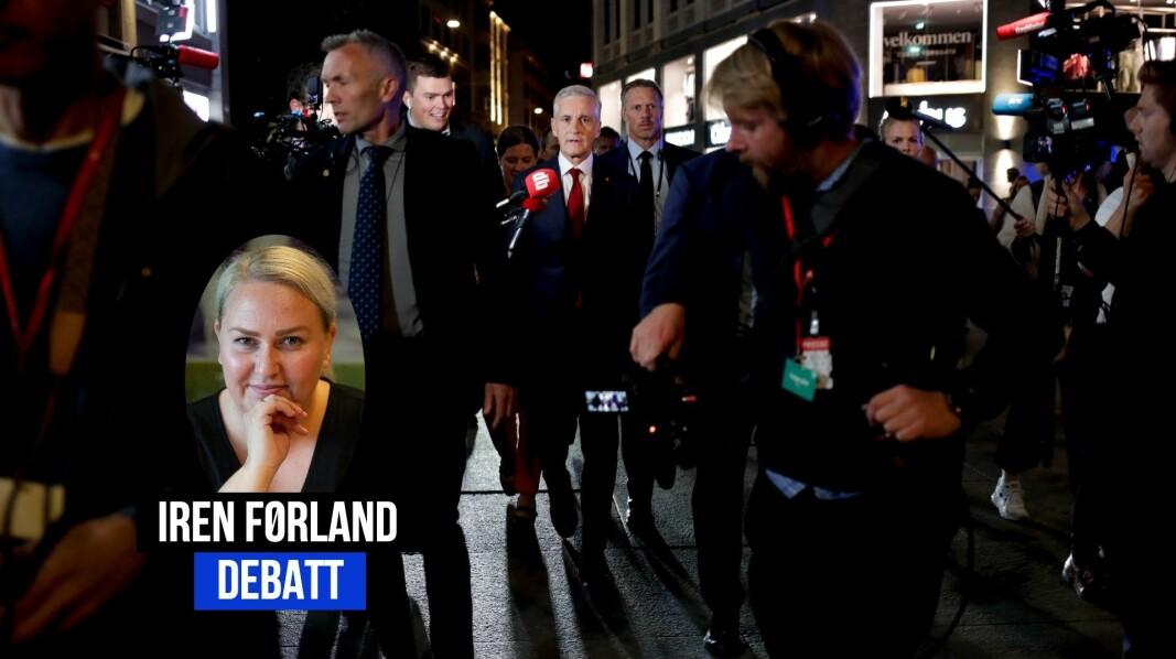 Bildene av journalister tett i tett og klemming fra valgvaker får Iren Førland til å reagere