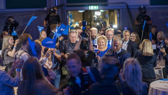 Erna Solberg på Høyres valgvake på Radisson Blu Scandinavia Hotel under stortingsvalget 2021.