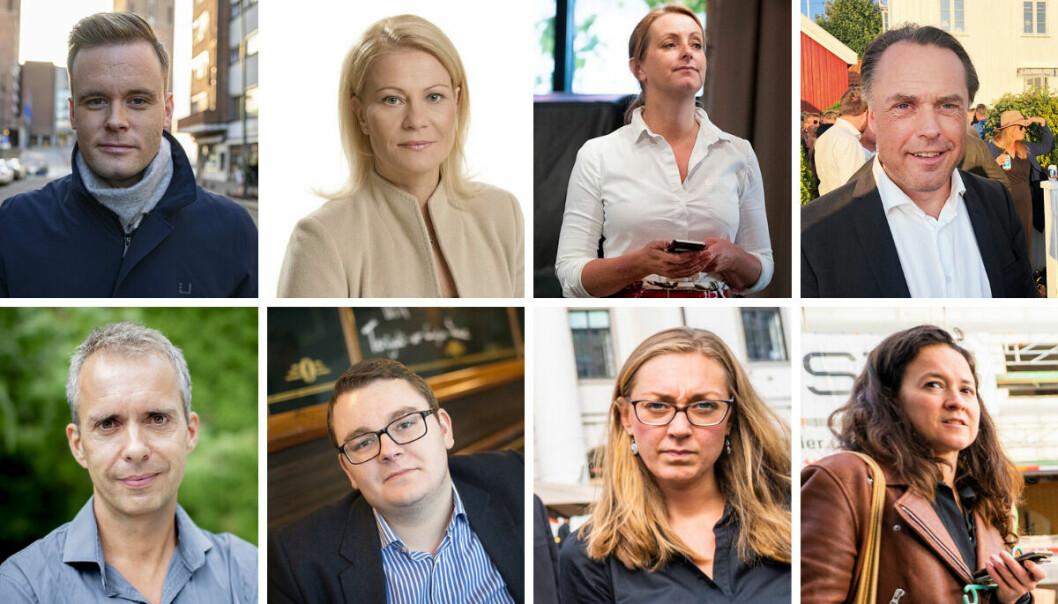 Dette er åtte av eks-journalistens som nå jobber i partiapparatene. Øverst fra venstre: Cato Husabø Fossen (Høyre), Cecilie Roang (Høyre), Siri Gjørtz (SV), Kjetil Løset (Frp), Jarle Roheim Håkonsen (Ap), Espen Teigen (Frp), Siri Storstein Hytten (Ap) og Ida De Rosa (MDG).