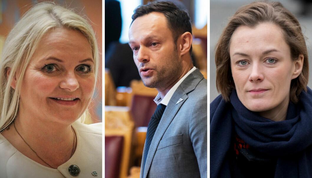 Stortingsrepresentant Åslaug Sem-Jacobsen fra Senterpartiet, nestleder for SV Torgeir Knag Fylkesnes og stortingsrepresentant for Arbeiderpartiet, Anette Trettebergstuen.