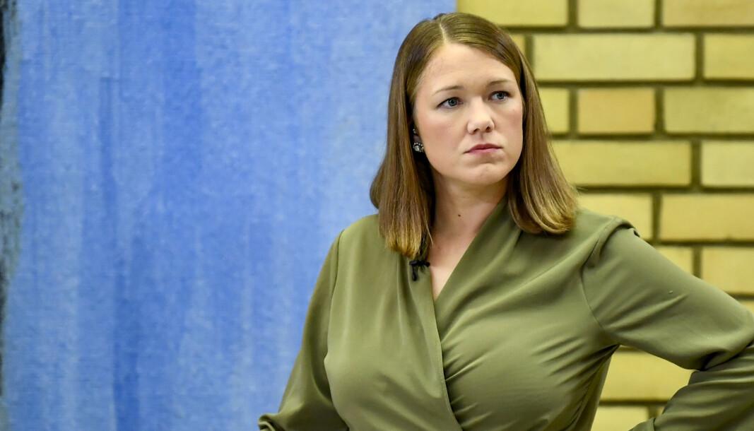 MDG-leder Une Aina Bastholm refser Dagbladets bildebruk i forbindelse med en videosak fra partiets valgvake denne uken. Her er hun avbildet under ukens partilederdebatt i Stortingets vandrehall.