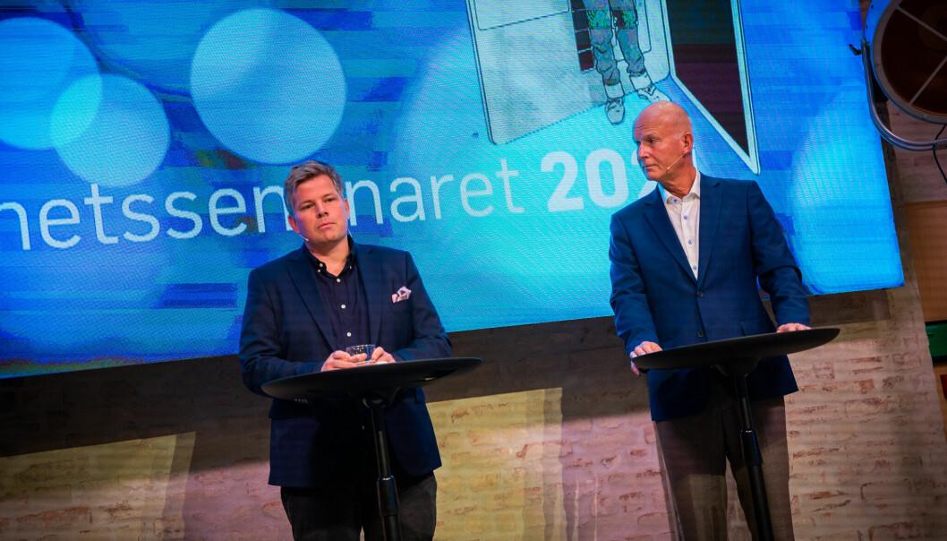 NRK-journalist Peter Svaar og Bjørn Guldvog under Åpenhetsseminaret 2021