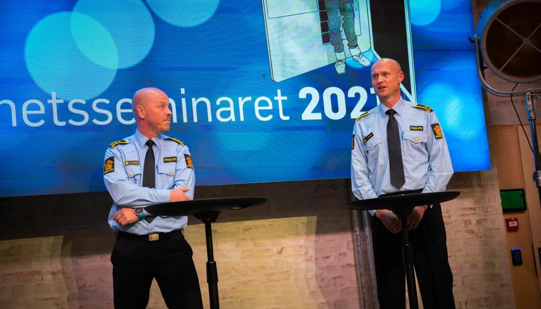 Runar Skarnes, leder for operasjonssentralen i Oslo politidistrikt og operasjonsleder Tore Solberg under Åpenhetsseminaret 2021.