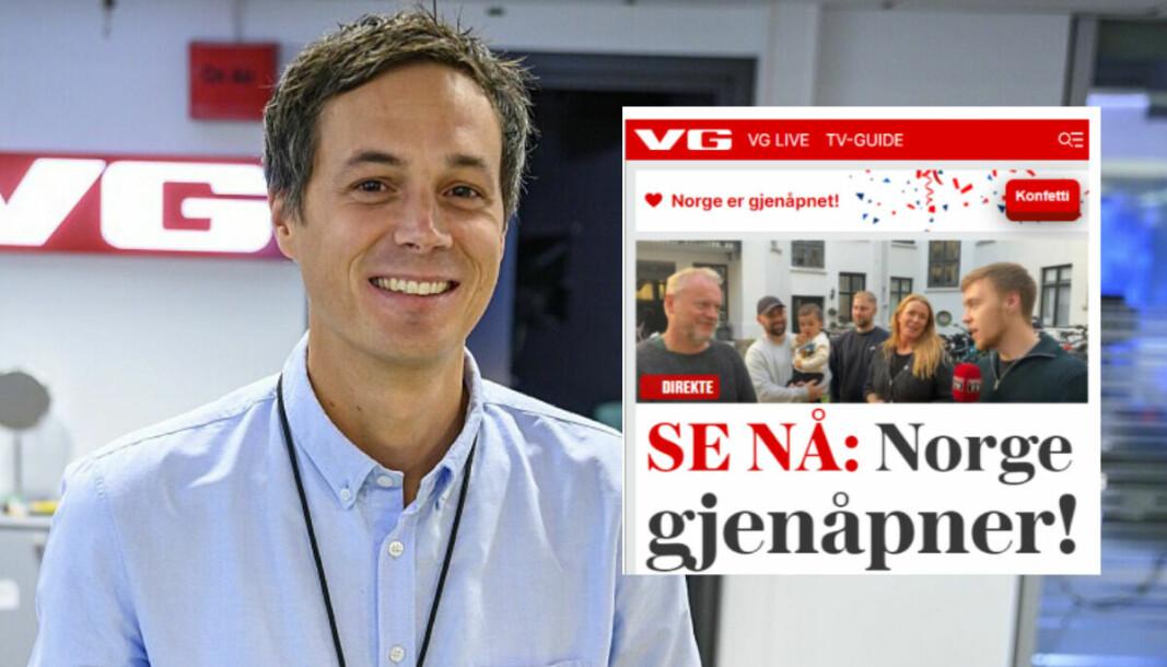 VGs utviklingsredaktør Øyvind Brenne kan glisende konstatere at konfetti-stuntet (innfelt) på VG-fronten i helgen ga uttelling.