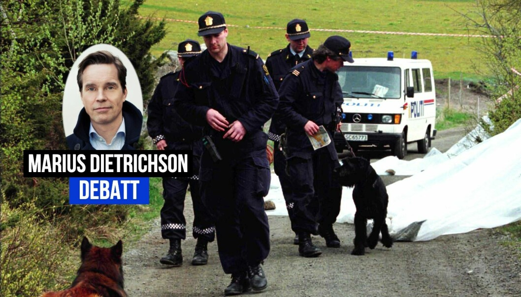 Politiet på stedet på Karmøy der 17 år gamle Birgitte Tengs ble funnet drept i 1995.