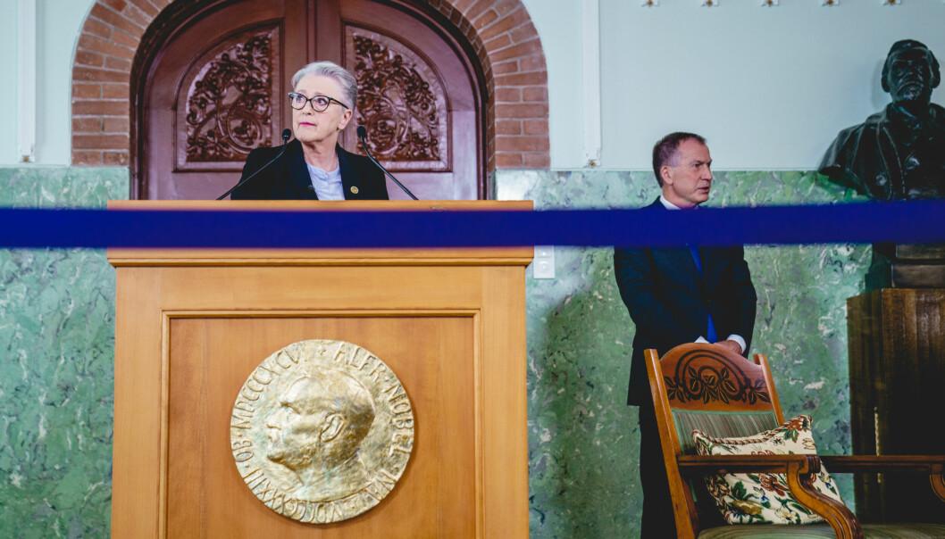 Berit Reiss-Andersen, leder av Nobelkomiteen, annonserte Verdens matvareprogram, som vinneren av Nobels Fredspris i fjor.
