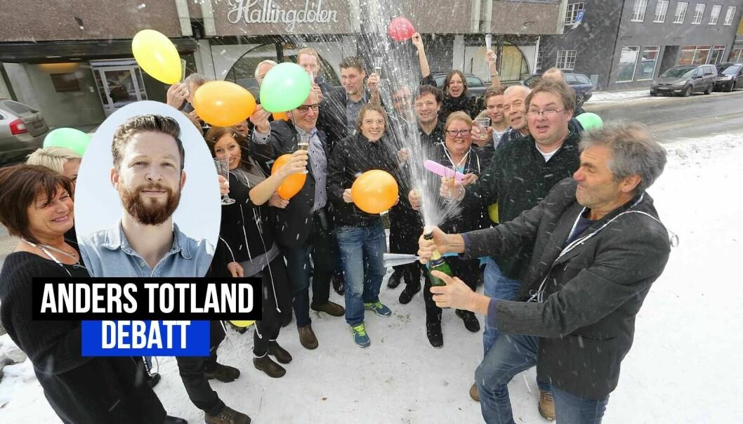 Anders Totland vil gi heder til lokaljournalistikken. Bildet er fra da Hallingdølen ble kåret til Årets beste lokalavis i Europa i 2013.