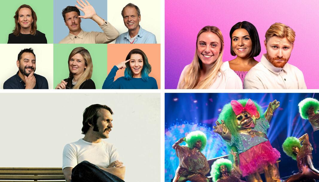 Her er fire av podkast-nyhetene hos NRK denne høsten: Burde vært pensum (øverst til venstre), Nyhetsblanding, Balladen om Håkon Banken og Maskorama-podkasten.