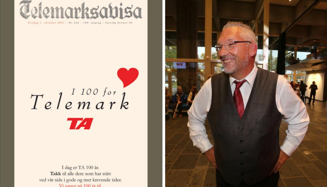 Telemarksavisa feiret 100-årsjubileum. Øverst til høyre er ansvarlig redaktør Ove Mellingen.
