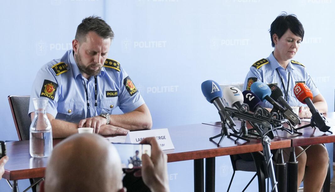 Politiinspektørene Lars Ole Berge og Unni Byberg Malmin fortalte at de hadde pågrepet en mann 3. september.