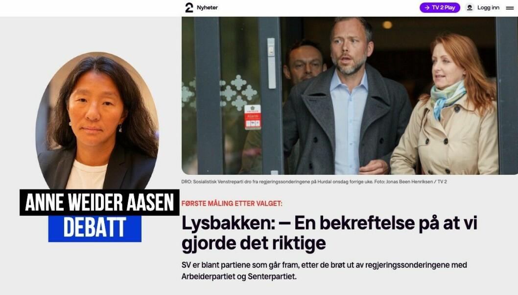 Anne Weider Aasen svarer på krikken mot denne TV 2-artikkelen
