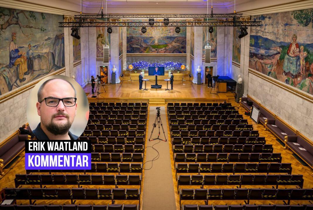 Ansvarlig redaktør Erik Waatland i Medier24 mener pressen ikke bør få Nobels fredspris.