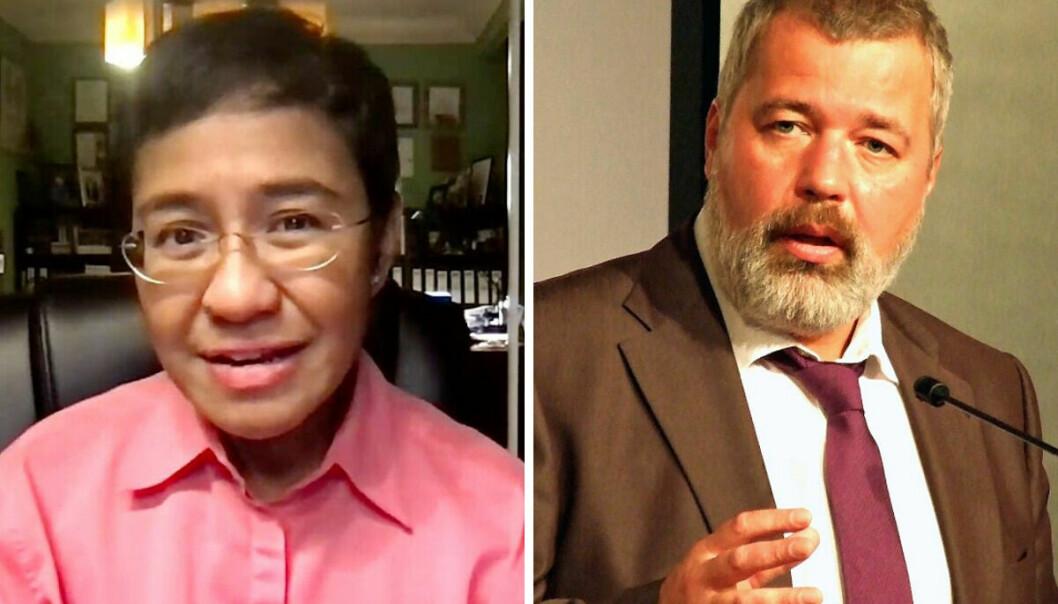 Maria Ressa og Dmitri Muratov får Nobels fredspris.