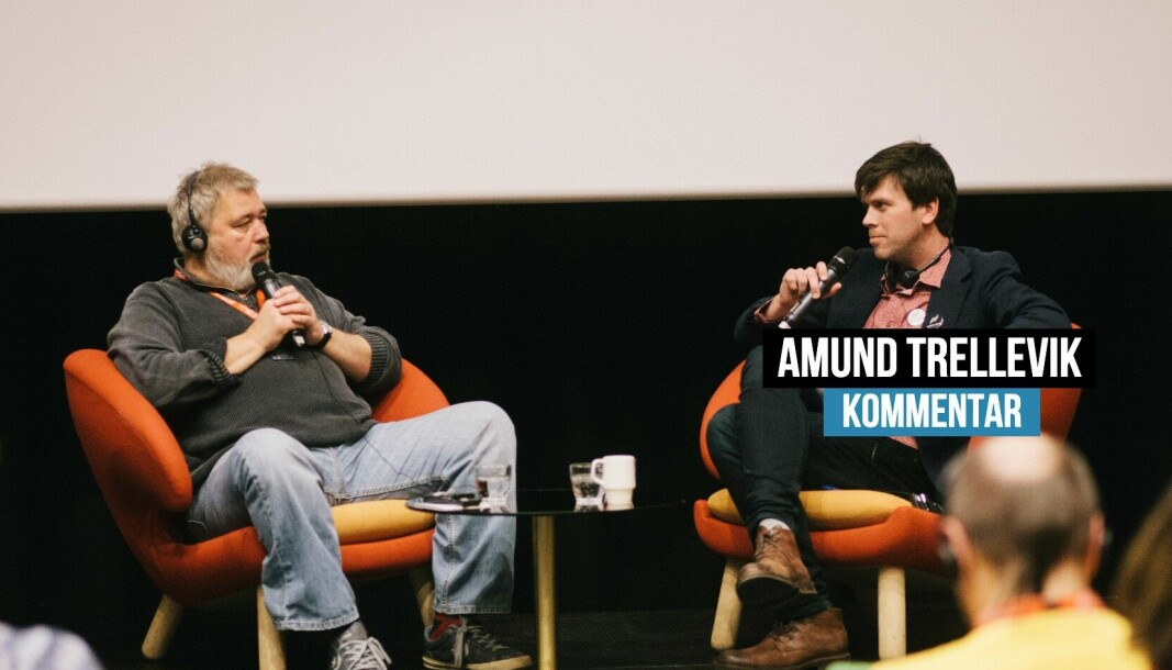 Amund Trellevik (t.h.) intervjuet Dmitrij Muratov da han gjestet Svarte Natta-konferansen i Tromsø i 2017