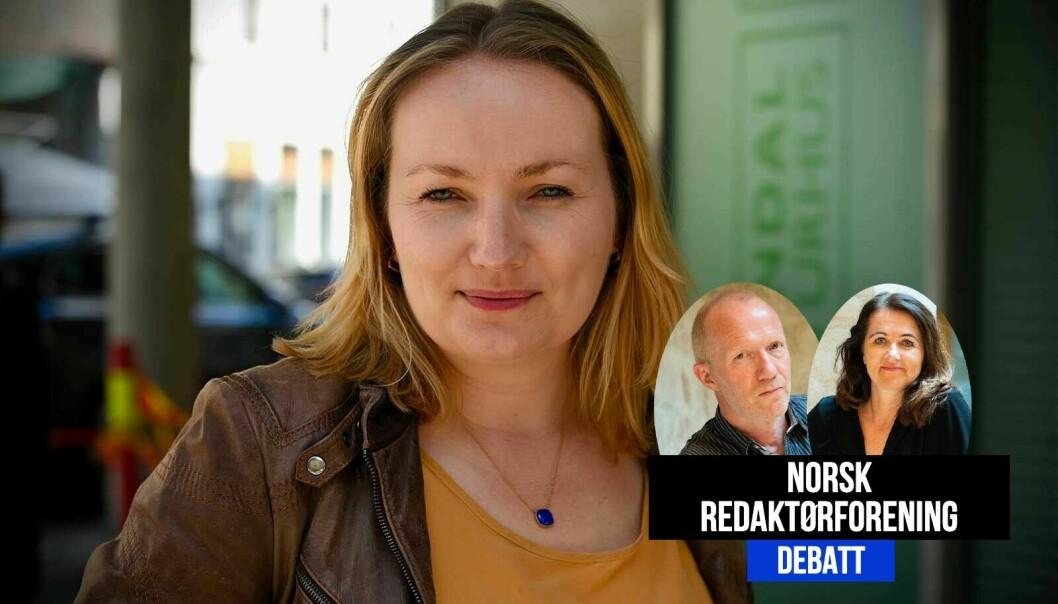 Arne Jensen og Reidun Kjelling Nybø i Norsk Redaktørforening svarer Ida Eliassen-Coker