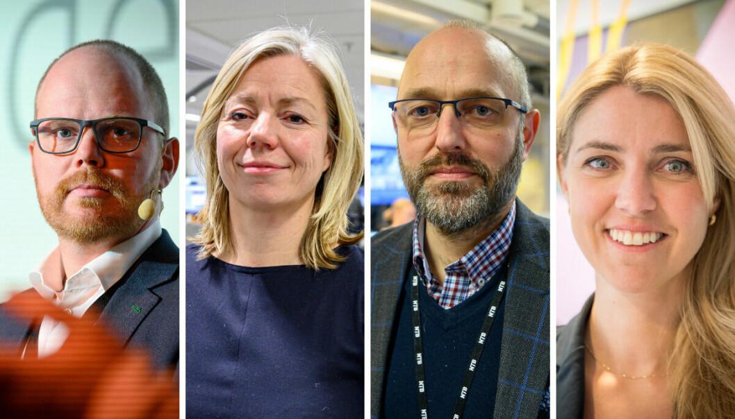 VG-sjef, Gard Steiro, ansvarlig redaktør i Aftenposten, Trine Eilertsen, avtroppende NTB-sjef, Mads Yngve Storvik og ansvarlig redaktør i Dagbladet, Alexandra Beverfjord.