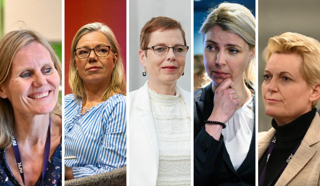 Nyhetsdirektør Helje Solberg i NRK, ansvarlig redaktør i Aftenposten, direktør for Medietilsynet, Mari Velsand, ansvarlig redaktør i Dagbladet, Alexandra Beverfjord og Vibeke Fürst Haugen, direktør for Marienlyst-divisjonen i NRK.