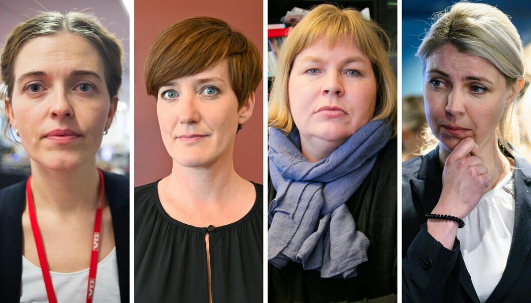 Nyhetsredaktør i VG, Tora Bakke Håndlykken, nyhetsredaktør i Vårt Land, Veslemøy Østrem, generalsekretær i Norsk Presseforbund, Elin Floberghagen og ansvarlig redaktør i Dagbladet, Alexandre Beverfjord.